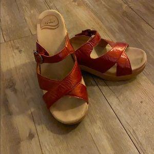 Dansko red leather sandal